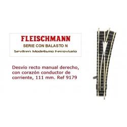 Desvío recto manual derecho, con corazón conductor de corriente, 111 mm. Ref 9179 (Fleischmann N Balasto)
