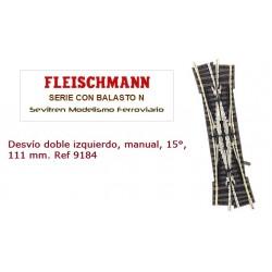 Desvío doble izquierdo, manual, 15°, 111 mm. Ref 9184 (Fleischmann N Balasto)