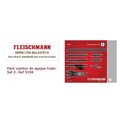Track pack. Three-way point Set E. Ref 9194 (Fleischmann N)