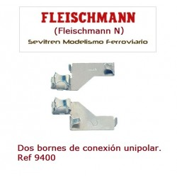 Track feed clips, 2 x single pole. Ref 9400 (Fleischmann N)