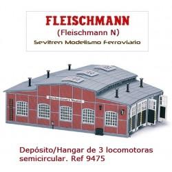 Locomotive roundhouse (kit). Ref 9475 (Fleischmann N)