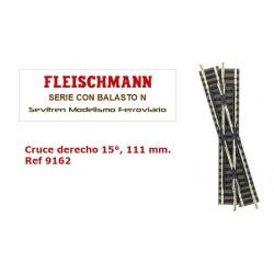 Cruce derecho 15°, 111 mm. Ref 9162 (Fleischmann N Balasto)