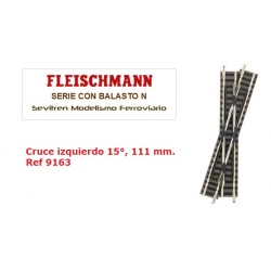 Cruce izquierdo 15°, 111 mm. Ref 9163 (Fleischmann N Balasto)