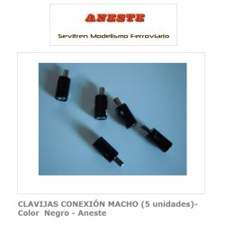 MALE CONNECTION PINS (5 units) - Black color - Aneste
