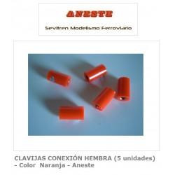 FEMALE CONNECTION PINS (5 units) - Orange Color - Aneste