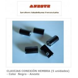 FEMALE CONNECTION PINS (5 units) - Black color - Aneste