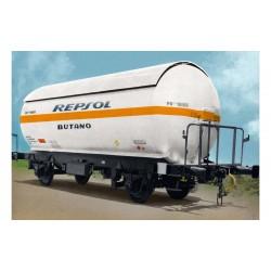 "RENFE, 2-unit pack PR gas tank wagon, white-orange/black ""Repsol Butano"" livery, period V - Arnold HN6474"
