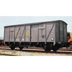 "R.N., 2-unit pack closed wagons J3, ""Sindicato de la Naranja"" grey livery, period III"