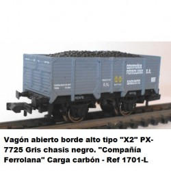 "Open wagon high edge type ""X2"" PX-7725 gray with black chassis. ""Company Ferrolana"" coal charge - Ktrain 1701L"