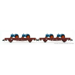 RENFE, 2-unit pack Ks flat wagon, oxid red livery, loaded with tractors, period III-IV - Arnold HN6488